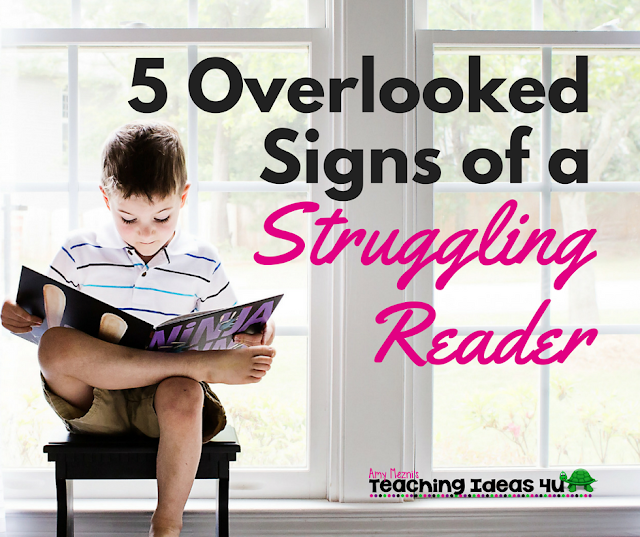 5 Overlooked Signs of a Struggling Reader - Post discusses five often missed red flags that could be a sign that a student is struggling with reading. Teachers and parents of struggling readers will find this post helpful.