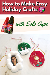 How to Make Easy Holiday Crafts with Solo Cups - Kids of all ages enjoy making ornaments or suncatchers with Solo Cups. This craft is fast and inexpensive to make, so it is perfect for a classroom activity before a holiday. This low prep craft can be made using a wide variety of decorations, so it is adaptable to different age groups. Learn how to make Solo Cup Ornaments in the blog post.