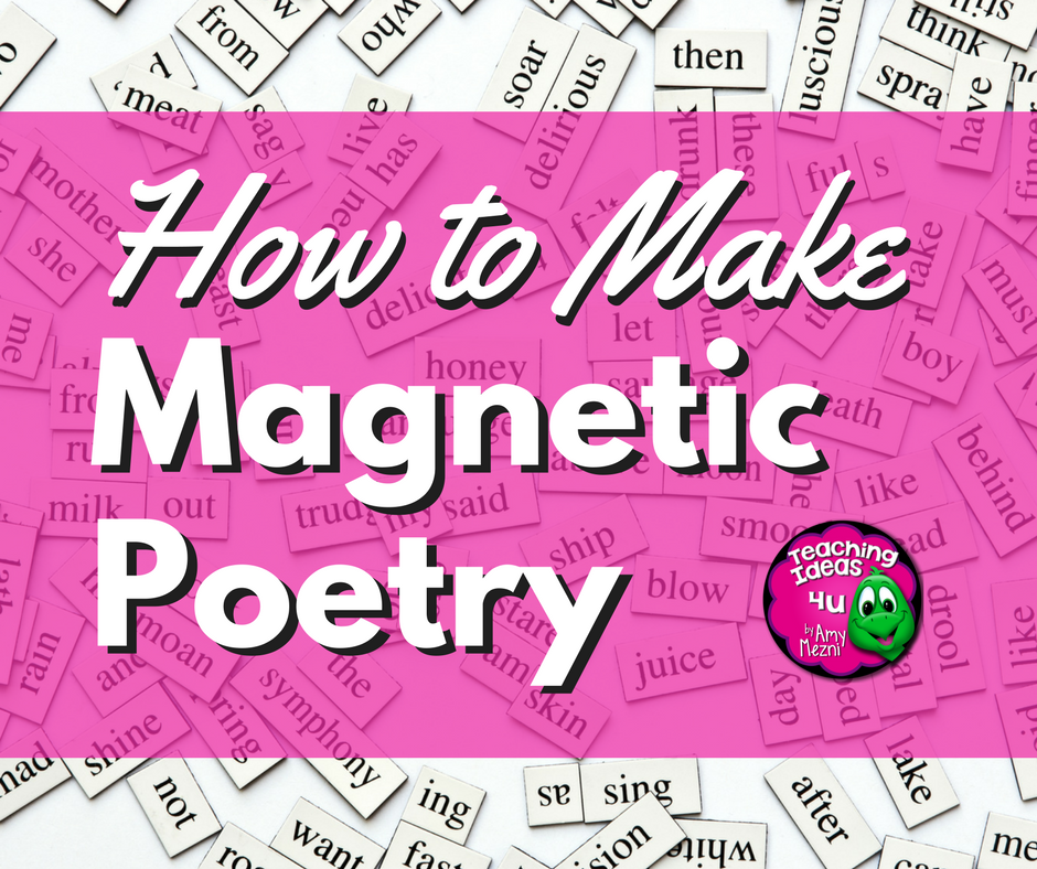 Do you like using word magnets for poetry and other writing activities? Making your own magnets is much more affordable and easy to do. Learn ways to use magnets in your classroom centers, as well as how to make your own. Free word list available to download to make your own magnets.