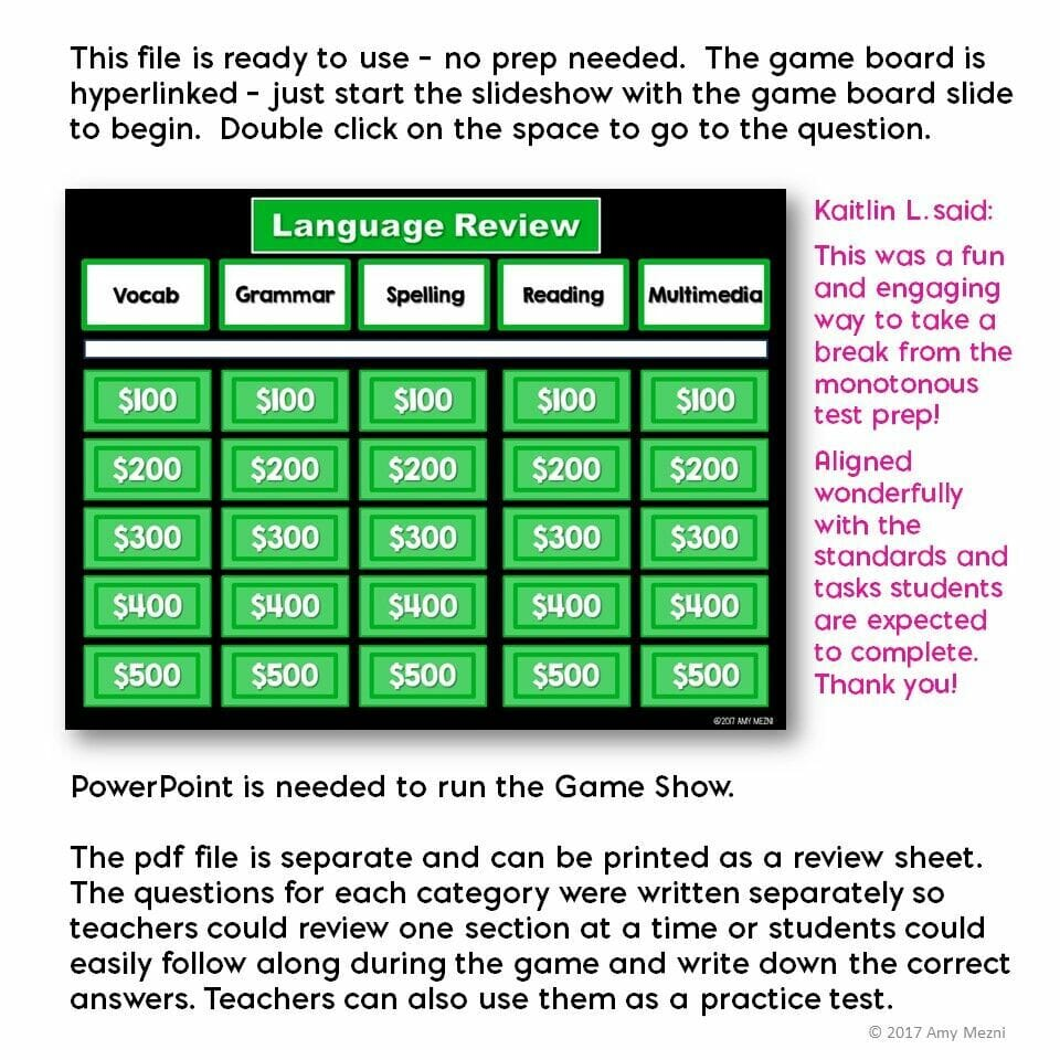 5th Grade ELA Test Prep Set: Paired Reading Passages, Game ...