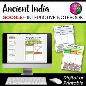 Teaching Ideas 4U - Amy Mezni - Ancient India DIGITAL Interactive Notebook Unit World History