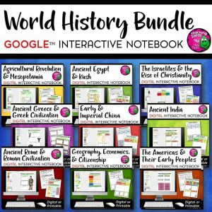 Teaching Ideas 4U - Amy Mezni - Ancient & World History DIGITAL Interactive Notebook BUNDLE 9 Units Google Drive