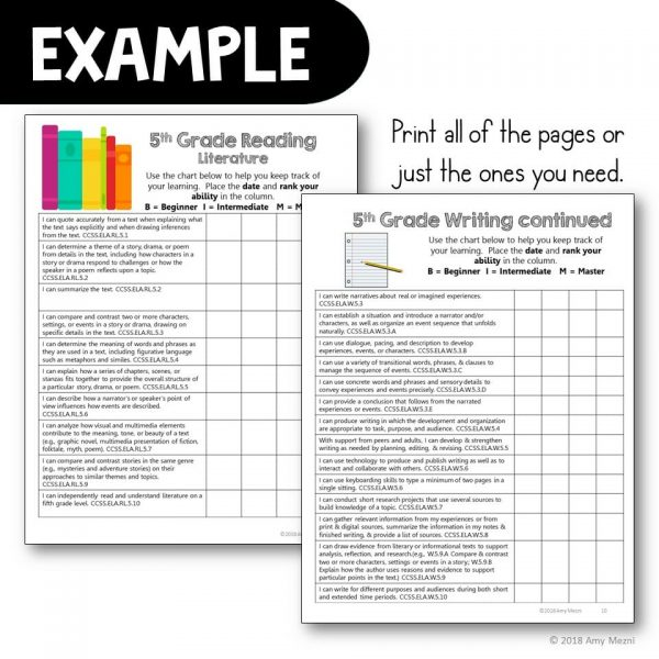 Teaching Ideas 4U - Amy Mezni - 5th Grade I Can Student Checklists for CCSS ELA Common Core Standards