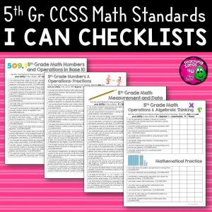 Teaching Ideas 4U - Amy Mezni - 5th Grade I Can Student Checklists for CCSS MATH Common Core Standards