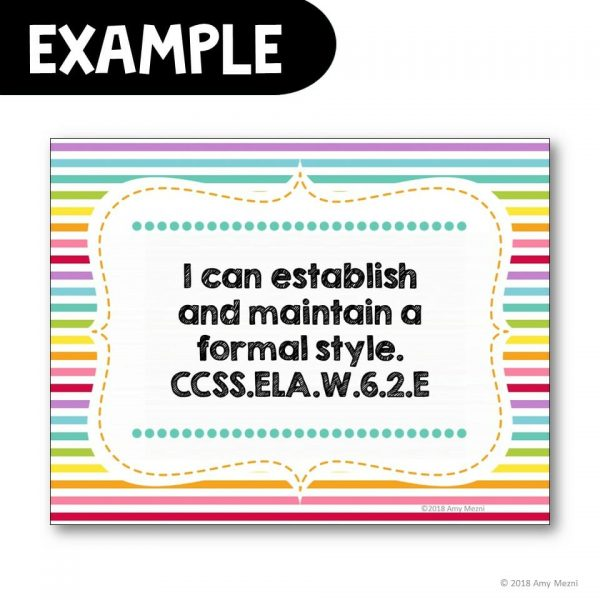 Teaching Ideas 4U - Amy Mezni - 6th Grade I Can Posters CCSS ELA Common Core Standards