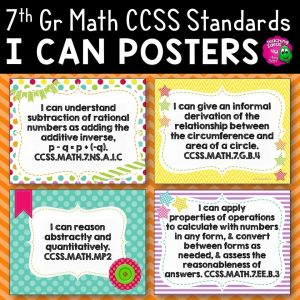 Teaching Ideas 4U - Amy Mezni - 7th Grade I Can Posters CCSS MATH Common Core Standards