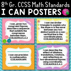 Teaching Ideas 4U - Amy Mezni - 8th Grade I Can Posters CCSS MATH Common Core Standards