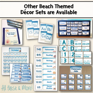 Teaching Ideas 4U - Amy Mezni - Beach & Ocean Themed Editable Welcome Banner Set Decor + B&W