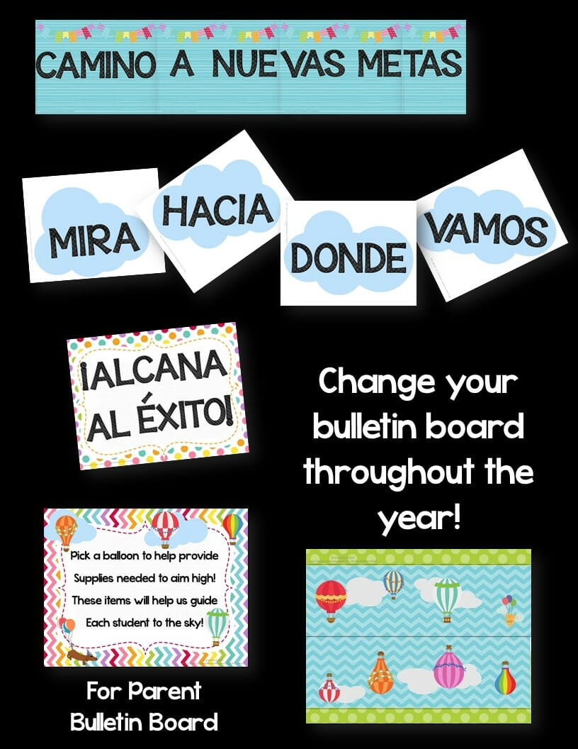 Classroom Decor Hot Air Balloon Theme Spanish Version Editable Bright Colors Teaching Resources And Lesson Plans Teaching Ideas 4u By Amy Mezni