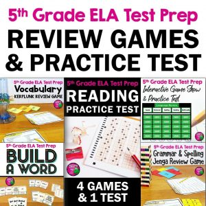 Teaching Ideas 4U - Amy Mezni - ELA Test Prep Bundle 5th Grade 4 Games & 1 Reading Practice Test FSA