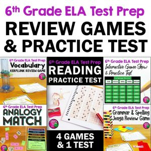 Teaching Ideas 4U - Amy Mezni - ELA Test Prep Bundle 6th Grade 4 Games & 1 Reading Practice Test FSA