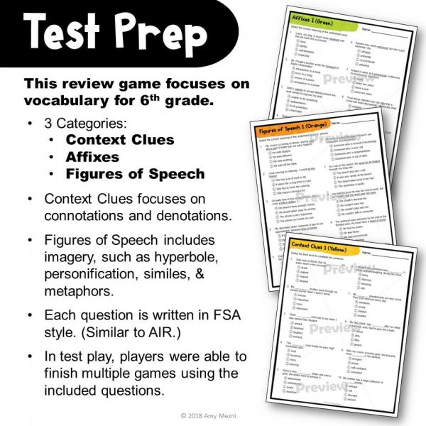 Teaching Ideas 4U - Amy Mezni - ELA Test Prep Vocabulary Kerplunk Review Game 6th Grade FSA AIR