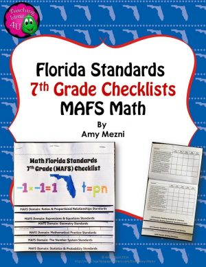 Teaching Ideas 4U - Amy Mezni - Florida Standards MAFS Math Mathematics 7th Grade Checklist Layered Flap Book