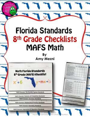 Teaching Ideas 4U - Amy Mezni - Florida Standards MAFS Math Mathematics 8th Grade Checklist Layered Flap Book - 5