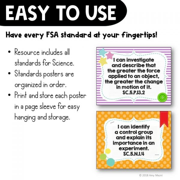 Teaching Ideas 4U - Amy Mezni - I Can Posters 5th Grade NGSSS Science Florida Standards