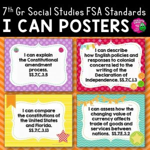 Teaching Ideas 4U - Amy Mezni - I Can Posters 7th Grade Civics Florida Standards