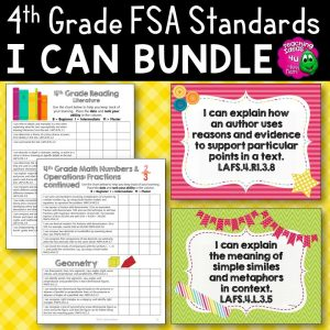 Teaching Ideas 4U - Amy Mezni - I Can Posters & Checklists Bundle 4th Grade Florida LAFS MAFS NGSSS Standards