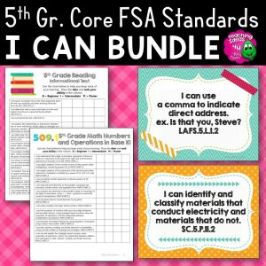 Teaching Ideas 4U - Amy Mezni - I Can Posters & Checklists Bundle 5th Grade Florida LAFS MAFS NGSSS Standards