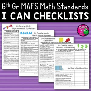 Teaching Ideas 4U - Amy Mezni - I Can Student Checklists 6th Grade MAFS Math Florida Standards Mathematics
