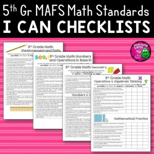 Teaching Ideas 4U - Amy Mezni - I Can Student Checklists 5th Grade MAFS Math Florida Standards Mathematics