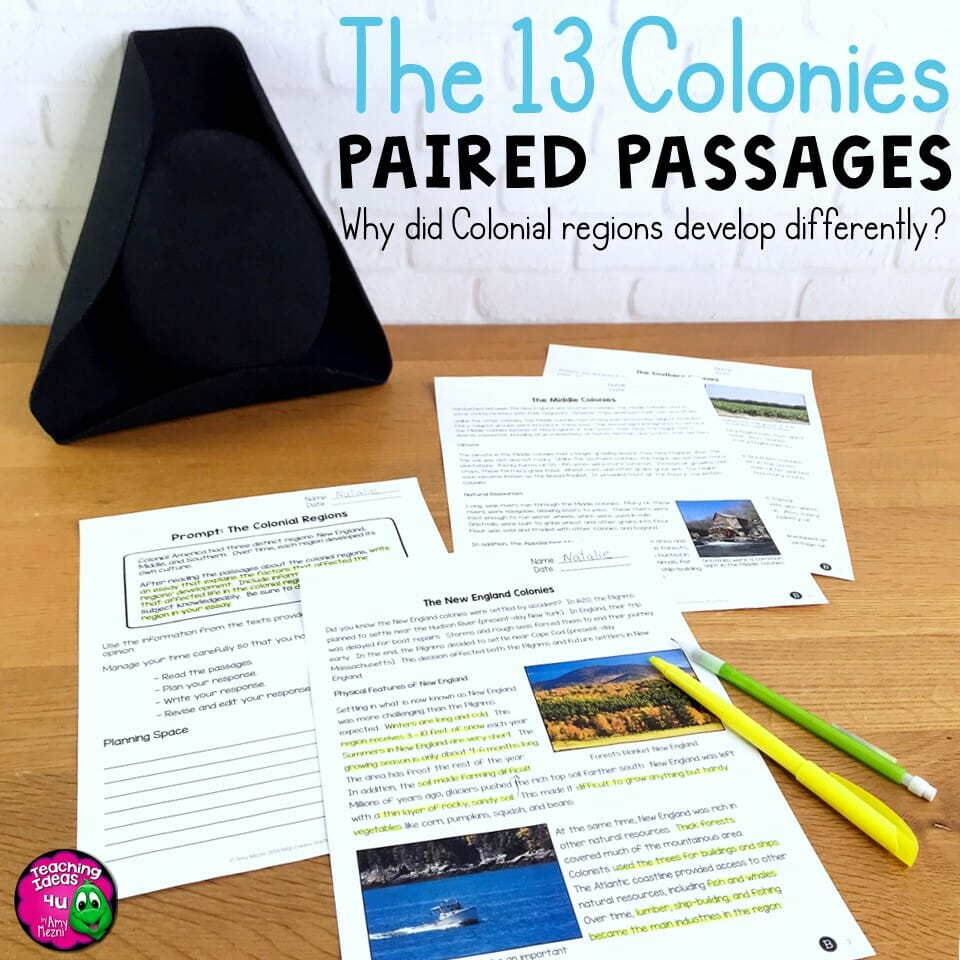 Teaching Ideas 4U - Amy Mezni - The 13 Colonies Paired Passages, Reading Comprehension Questions & Writing