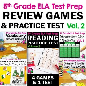 TeachingIdeas4U 5th Grade ELA Test Prep Review Games & Practice Test VOL2