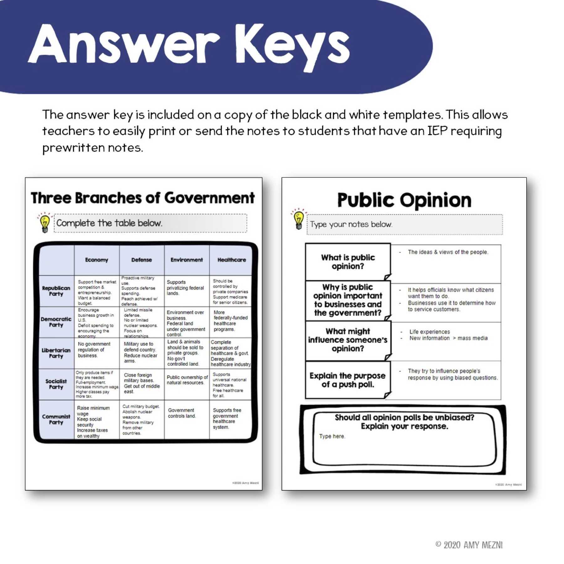 Civics Government DIGITAL Interactive Notebook: Policies ...