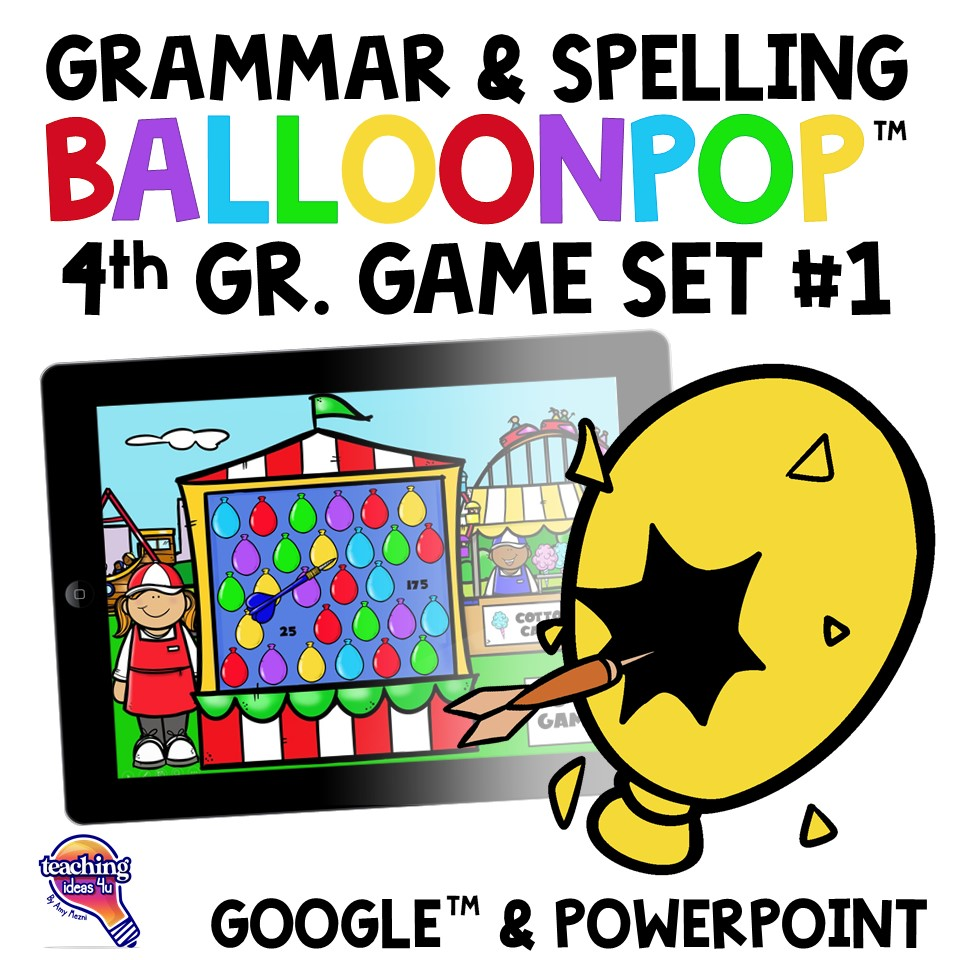 Teaching Ideas 4U - Amy Mezni - 4th Grade Grammar & Spelling BalloonPop™ Digital Review Games Set 1