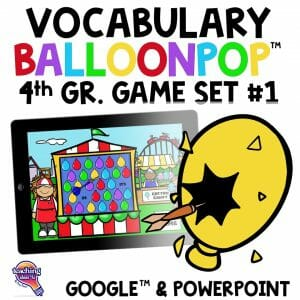 TI4U 4th Grade Vocabulary BalloonPop™ Digital Review Games Set 1 1